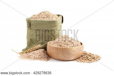Wheat Bran In Sack And Bowl On White Background
