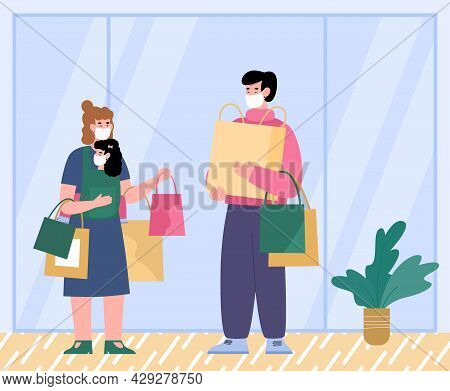 Family Shopping In Pandemic. Safety And Precautions, Flat Vector Illustration.