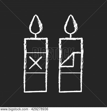 Remove Candle Packaging Before Use Chalk White Manual Label Icon On Dark Background. Removing Wrappi