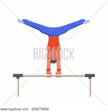 A Gymnast With An Athletic Physique Performs On Horizontal Bar, Athlete Shows Static Hold Skill With