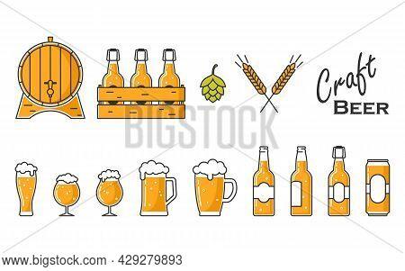 Mugs, Glasses, Bottles And A Keg For Beer. Craft Beer Design. Set For A Holiday Or Festival.