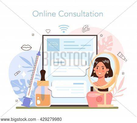 Cosmetologist Online Service Or Platform. Skin Care Procedure