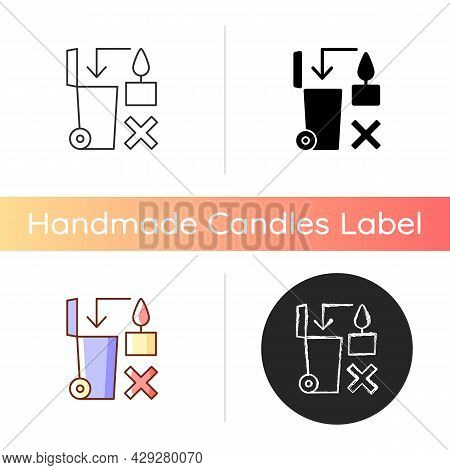 Never Throw Hot Wax In Trash Bin Manual Label Icon. Danger From Heated Melted Wax. Flammable Liquid