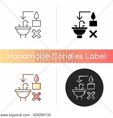 Never Throw Hot Wax Down Sink Manual Label Icon. Clogging Sink Risk. Leftover Wax Disposal Correctly