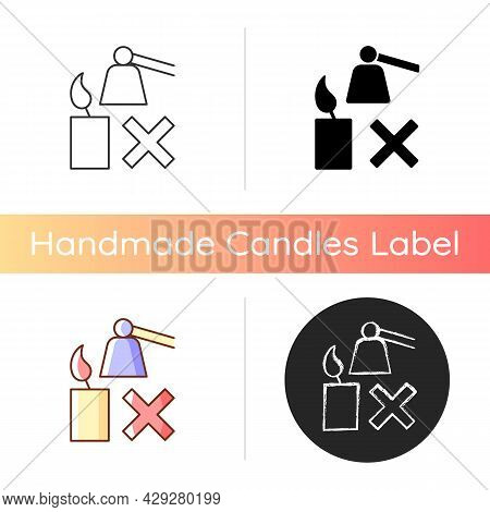 Extinguishing Flickering Candle Manual Label Icon. Prevent Rapid, Uneven Burning. Avoiding Smoke, So