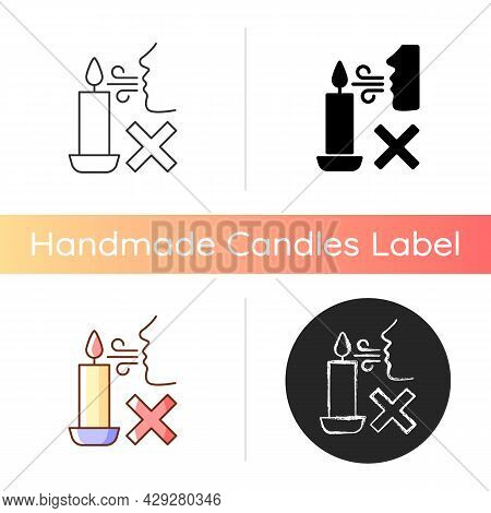 Never Blow Out Candle Flame Manual Label Icon. Smoke And Soot Appearance Risk. Avoid Wax Splashes. L