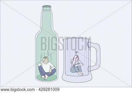 Addiction To Alcohol And Depression Concept. Two Young Depressed People Man And Woman Sitting On Bot
