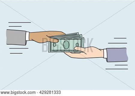 Giving Bribe And Money Concept. Human Hands Giving And Taking Heap Of Money Cash Currency Making Bri