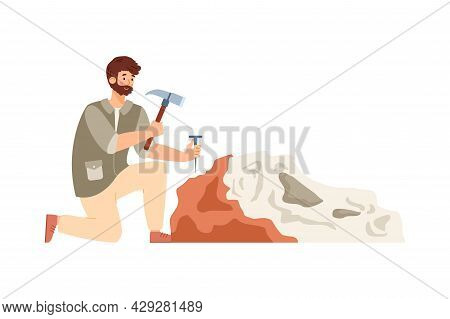 Archaeologist Working On Archeology, Paleontology Or Geological Excavations.