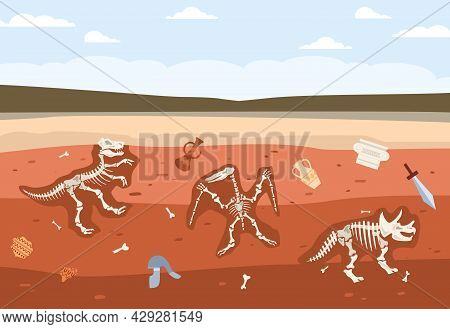 Underground Soil With Fossil Animals Skeletons And Historical Ancient Artifacts.