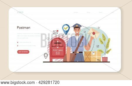Postman Web Banner Or Landing Page. Post Office Staff Providing Mail