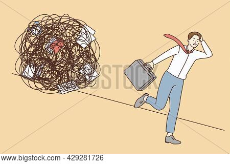 Stress, Overload, Burnout At Work Concept. Young Stressed Businessman Worker Cartoon Character Runni