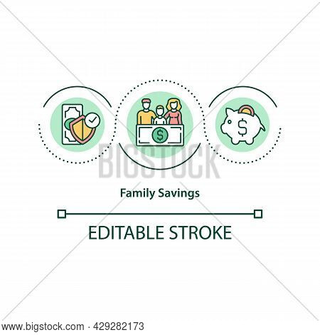 Family Savings Concept Icon. Financial Management. Common Budget Allocation. Resources Accumulation