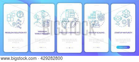 Startup Lifecycle Phases Gradient Onboarding Mobile App Page Screen. Business Launch Walkthrough 5 S