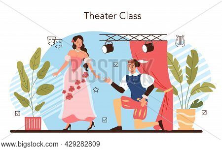 Drama School Class Or Club. Students Playing Roles In A School Play