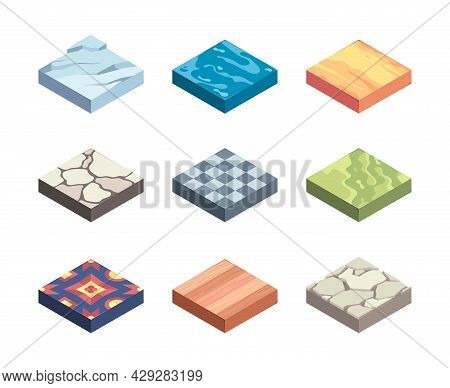 Ground Textures. Game Templates Surfaces On Platforms Earth Layers Sand Grass Rocks Water Ice Garish