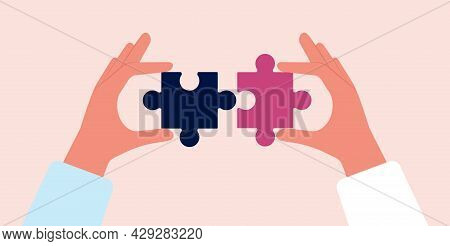 Collect Puzzles. Hands Holding Puzzle Pieces. Parts Connect, Collaboration Or Business Cooperation M