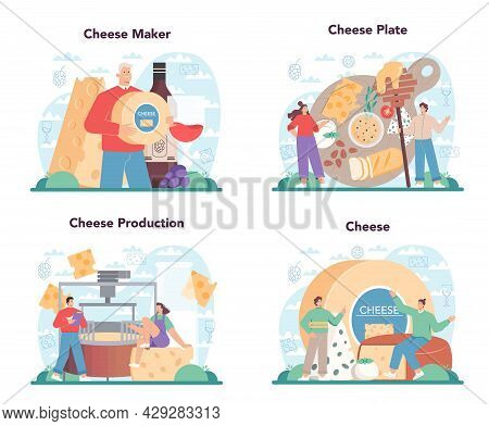 Cheese Maker Concept Set. Professional Chef Making Block Of Cheese