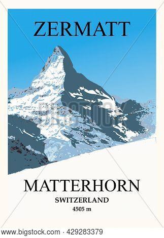 Stylish Ski And Travel Poster. Winter View Of The Matterhorn Near Zermatt