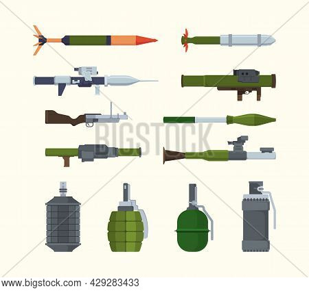 Military Weapons. Items For Army Heavy Artillery Flying Bombs Launchers Of Granade Steel Bazookas Ex
