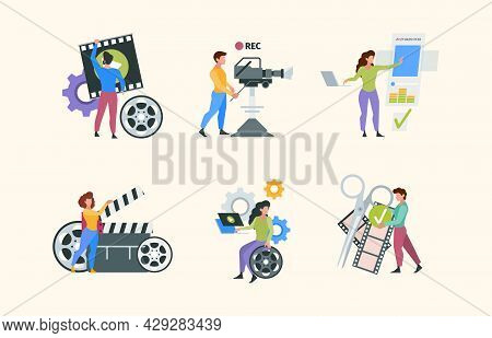 Filmmaking Characters. People Shooting Photo Videography Production Filming Media Content Video Tv A