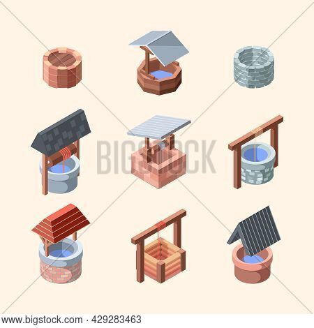 Water Well. Outdoor Decoration Well From Bricks And Old Stones Garden Water Oasis Garish Vector Isom