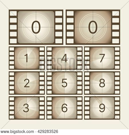 Cinema Countdown. Retro Movie Scratch Tape With Numbers Screen Frames Sequence Film Animation Effect