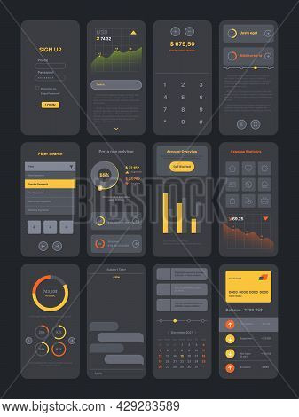 Dark Theme Ui Kit. Digital Modern Interface App Pages Templates With Various Icons Symbols Frames Pr