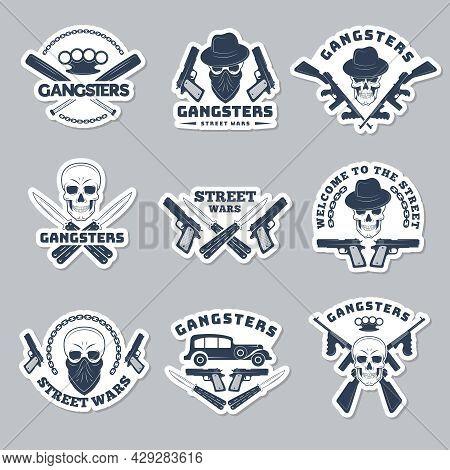 Mafia Labels. Gangsta Stylized Symbols Guns Bandits And Hooligans Silhouettes Recent Vector Monochro