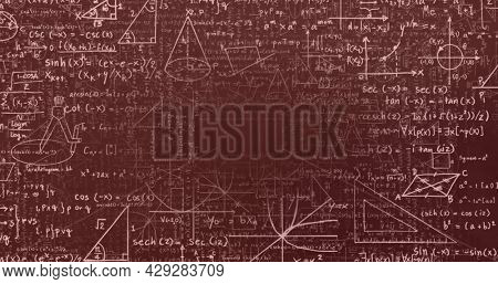 Digital image of multiple changing numbers against mathematical equations and diagrams floating against grey background. school and education concept