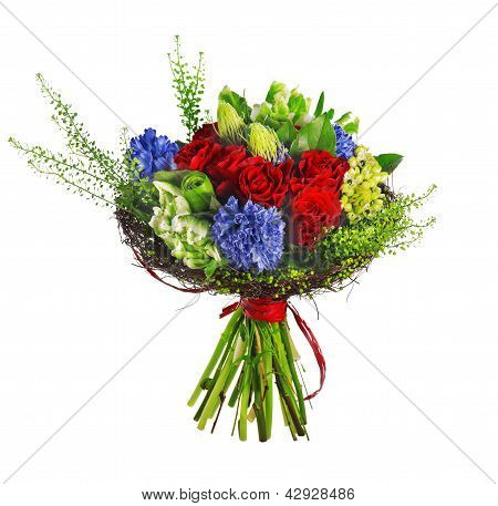 bouquet of roses, hyacinthus and greens