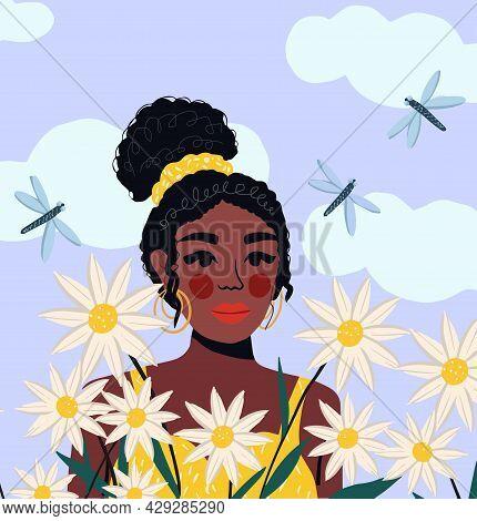 Portrait Of A Beautiful African American Woman In A Field Of Flowers, Modern Flat Style. Pretty Girl