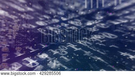 Digital image of binary coding data processing against microprocessor connections in background. school and education concept