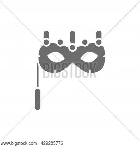 Traditional Venetian Mask, Masquerade, Carnivals Grey Icon.