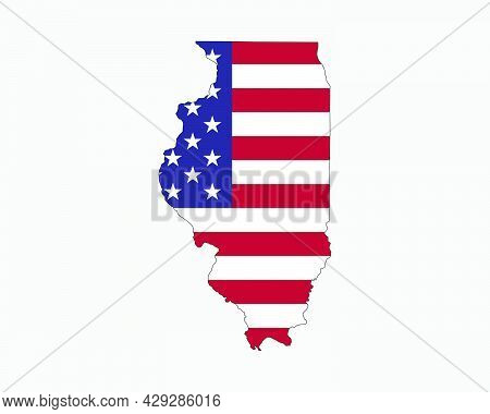 Illinois Map On American Flag. Il, Usa State Map On Us Flag. Eps Vector Graphic Clipart Icon