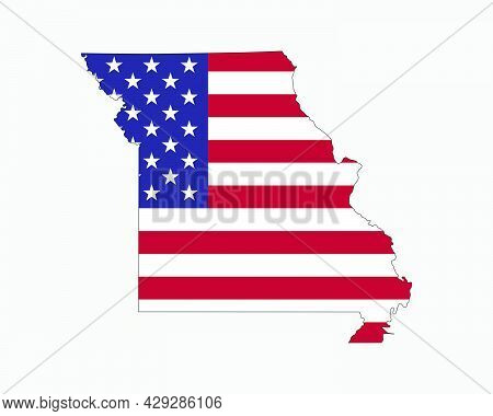 Missouri Map On American Flag. Mo, Usa State Map On Us Flag. Eps Vector Graphic Clipart Icon