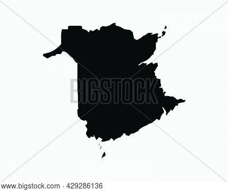 New Brunswick Canada Map Black Silhouette. Nb, Canadian Province Shape Geography Atlas Border Bounda