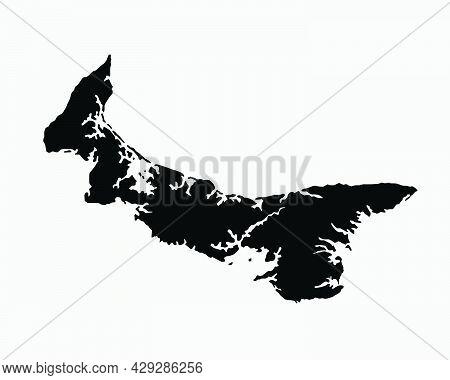 Prince Edward Island Canada Map Black Silhouette. Pei, Canadian Province Shape Geography Atlas Borde
