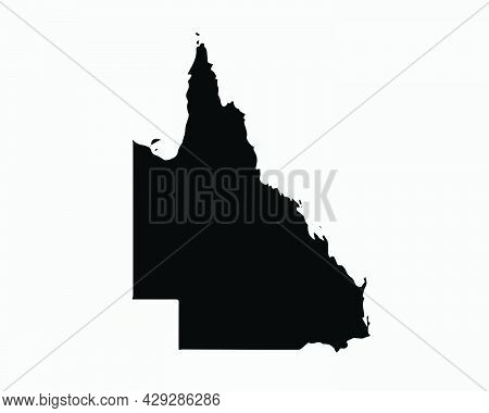 Queensland Australia Map Black Silhouette. Qld, Australian State Shape Geography Atlas Border Bounda