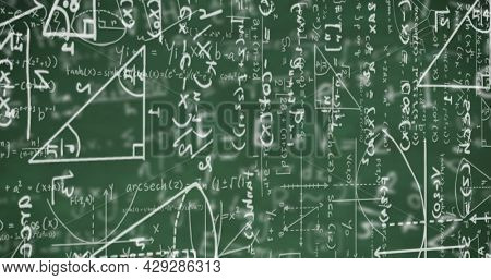 Digital image of mathematical equations moving against mathematical symbols on green background. school and education concept