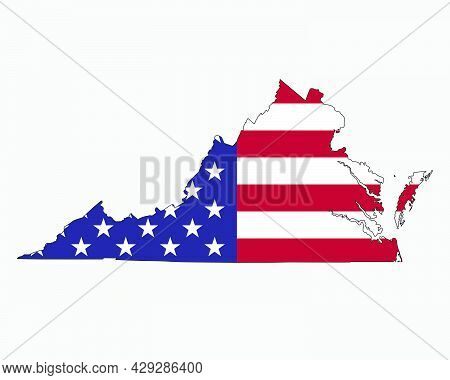 Virginia Map On American Flag. Va, Usa State Map On Us Flag. Eps Vector Graphic Clipart Icon