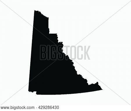 Yukon Canada Map Black Silhouette. Yt, Canadian Territory Shape Geography Atlas Border Boundary. Bla