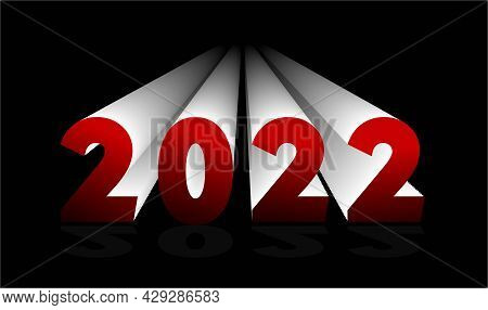 2022 Vector Lettering. New Year Element For Design. Volumetric Figures.