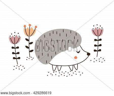 Cute Hand Drawn Hedgehog Among The Flowers. Scandinavian Style Hedgehog Character. Wild Forest Anima