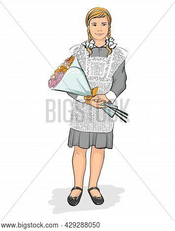 A Schoolgirl. A Girl In A Huge School Uniform Is Standing With A Bouquet.