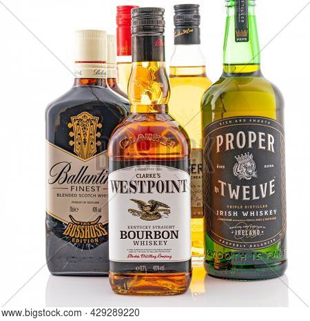 Berlin - JAN 15, 2020: Various bottles of Scotch whisky from the supermarket on store shelf in Berlin.  Various bottles of Scotch whisky