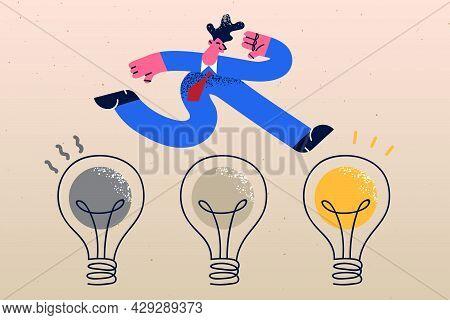 Business Innovation, Transformation, Change Management Concept. Positive Confident Businessman Jumpi