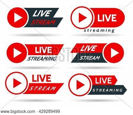 Live Streaming Stickers. Stream Event Symbols, Sport Blogger Broadcasting Banners, Video Tv Radio Ai