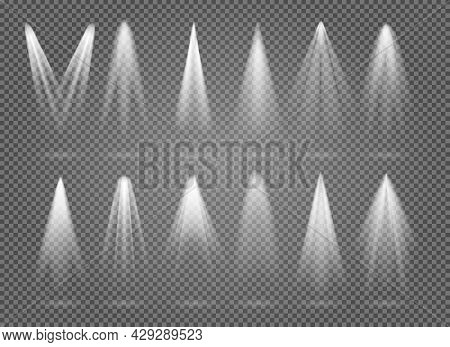 Spotlight Stage Rays. Vector Interior Spotlight Beams On Empty Black Background, Theater Stage Space