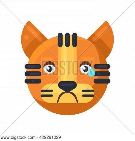 Tiger Crying Expression Cute Facial Emoji Vector